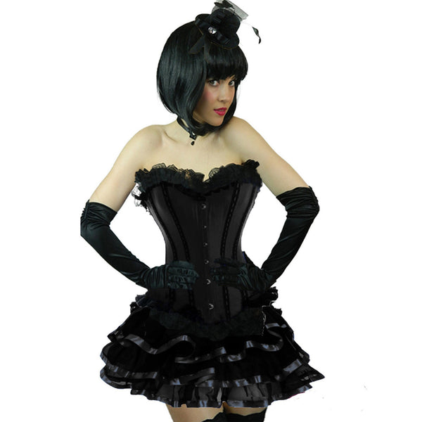 Ladies Black Burlesque Corset & Ribbon Skirt