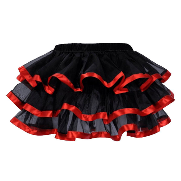 Red and Black Ribbon Trim Frilled Skirt