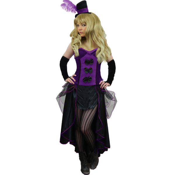 Ladies Plus Size Purple Burlesque Saloon Girl Costume