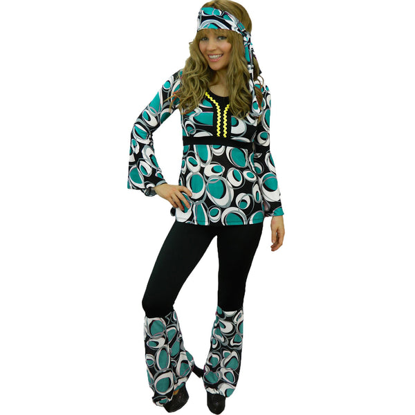 Blue & White 1970's Ladies Groovy Hippy Costume