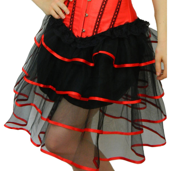 Red Ribbon Trimmed Long Burlesque Skirt