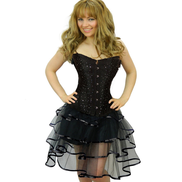 Ladies Plus Size Black Rhinestone Corset & Long Ribbon Skirt