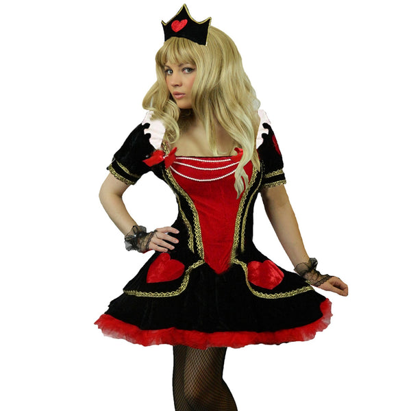 Deluxe Queen of Hearts Fancy Dress Costume + Gloves