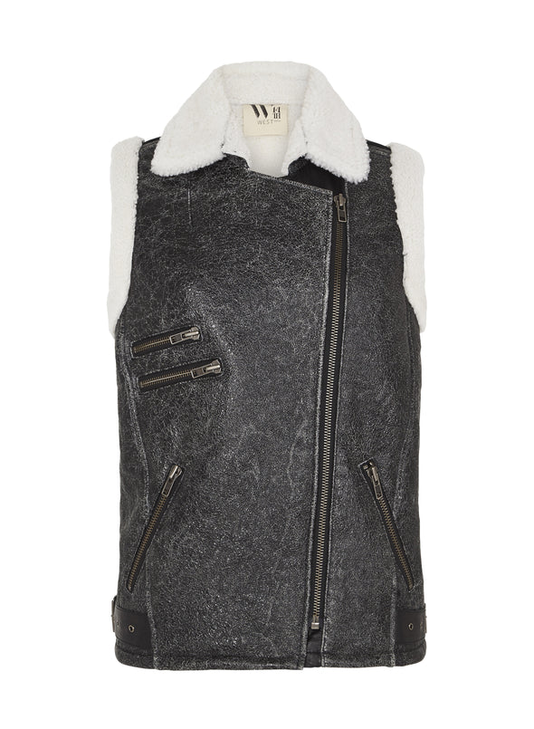 The Mercer Vest in Distressed Shearling