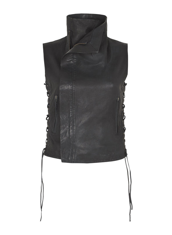 1st Avenue Drape Vest With Ties Worn In Charcoal Leather