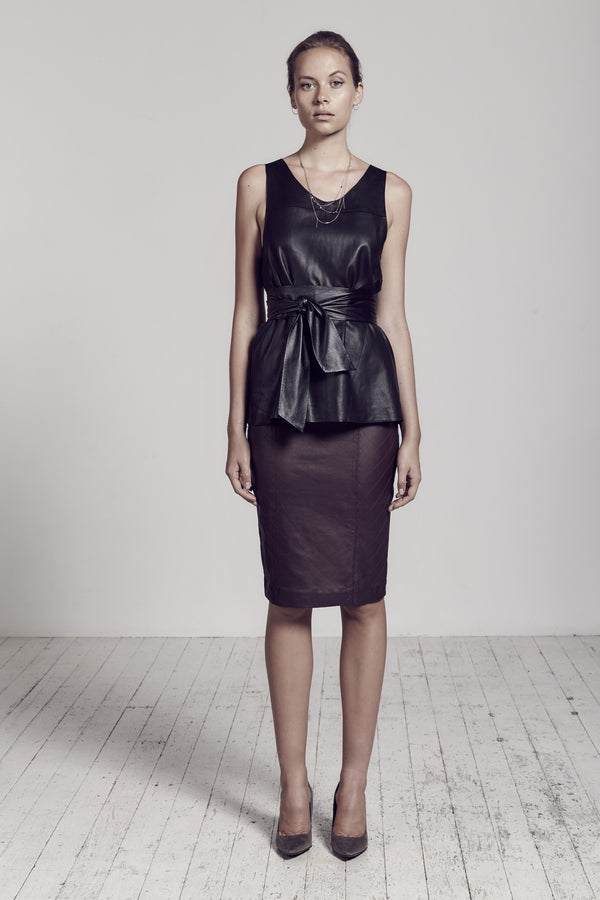 The Americano Quilted Pencil Skirt in Malbec Leather
