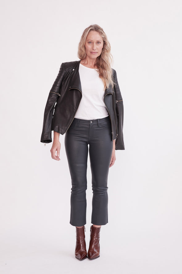 Midtown Kick Flare Pant Ink Stretch Leather