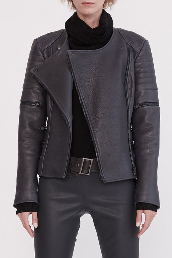 Greenwich Street Motor Jacket in Bubble Ink Leather