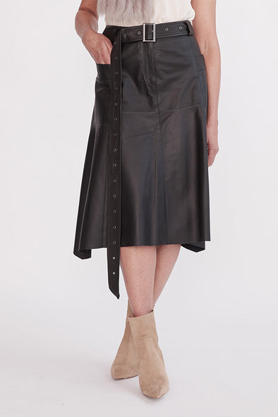 Hudson High-Rise Skirt Black Leather