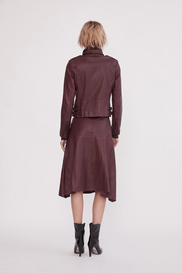 Hudson High-Rise Skirt Shiraz Leather