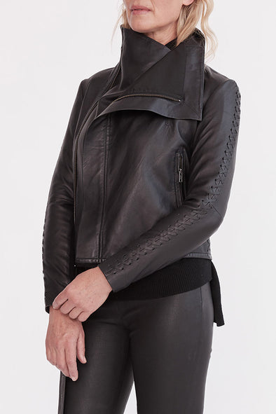 The Paddington Drape Jacket Black Leather