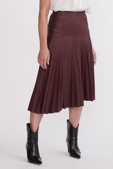 Park Avenue Pleat Skirt Shiraz Leather