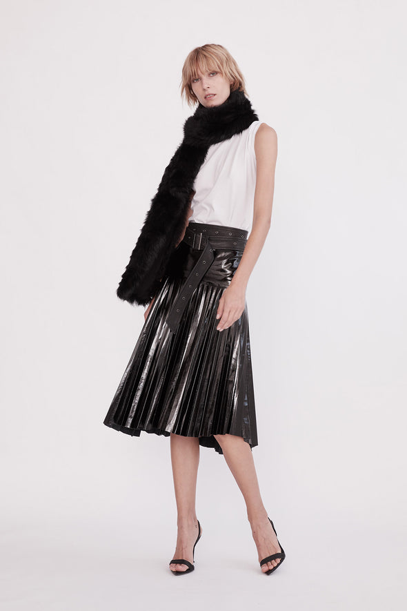 Park Avenue Pleat Skirt Glossy Black Leather