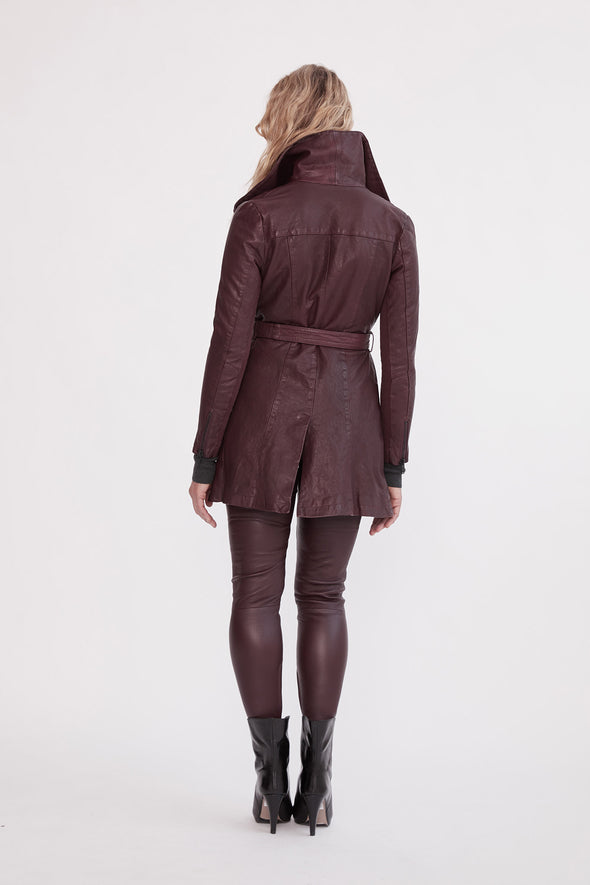 Washington Drape Trench Shiraz Leather