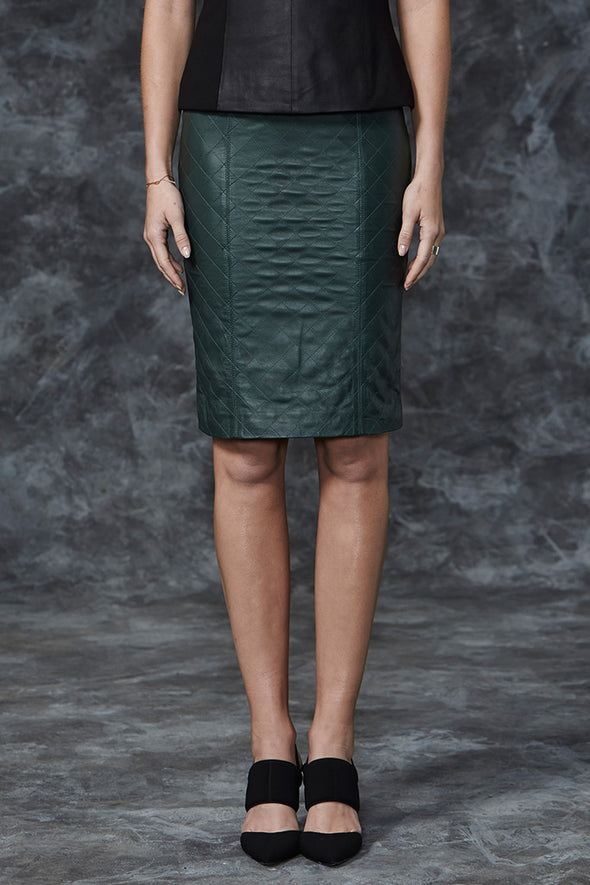 The Americano Quilted Pencil Skirt in Forest Leather - SAMPLE