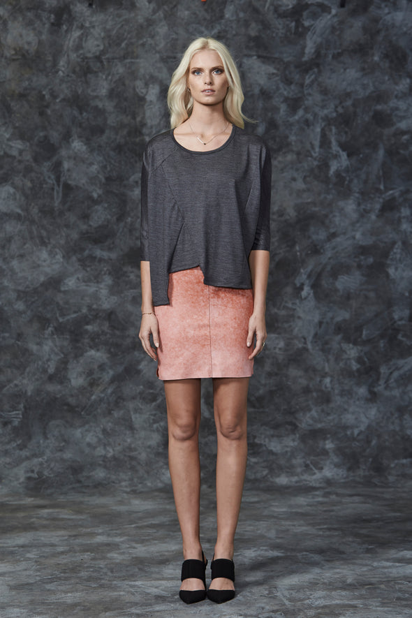 The Dakota Pencil Skirt in Pink Leather - SAMPLE
