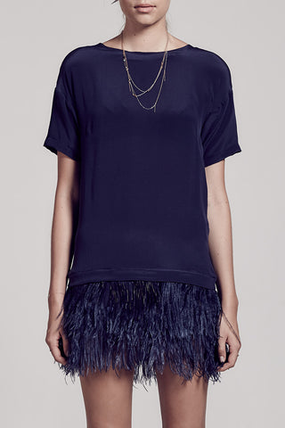 Yve Silk Tee Dress with Blueberry Ostrich Feathers