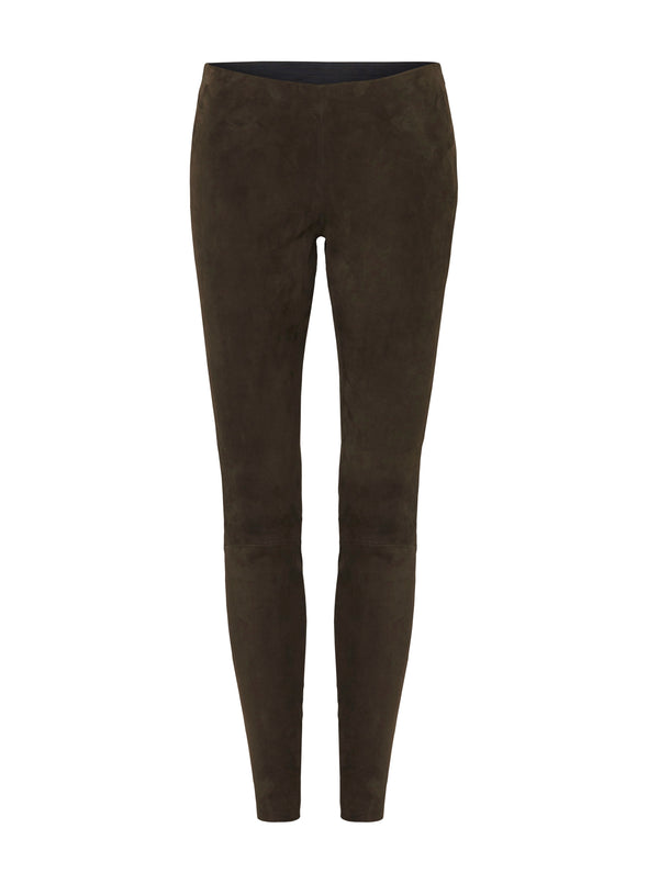 West Broadway Legging Olive Stretch Suede Leather