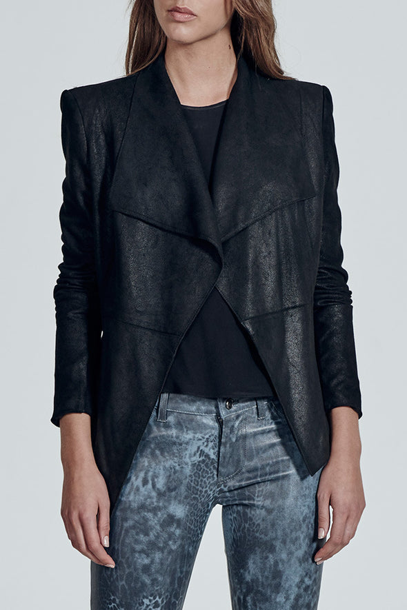Isabella on Columbus Clean Drape Jacket Distressed Black Leather