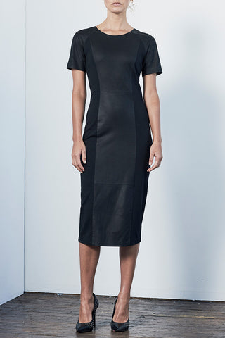 The Long Hearst Dress in Black Leather and Ponti