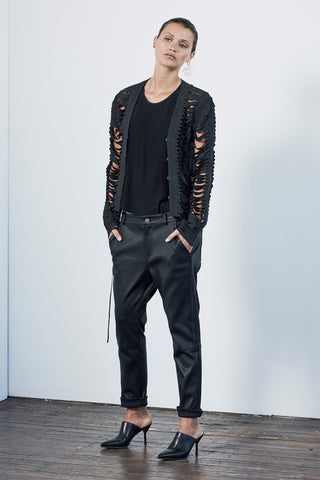 The Balmain Shredded Jacket Black Leather