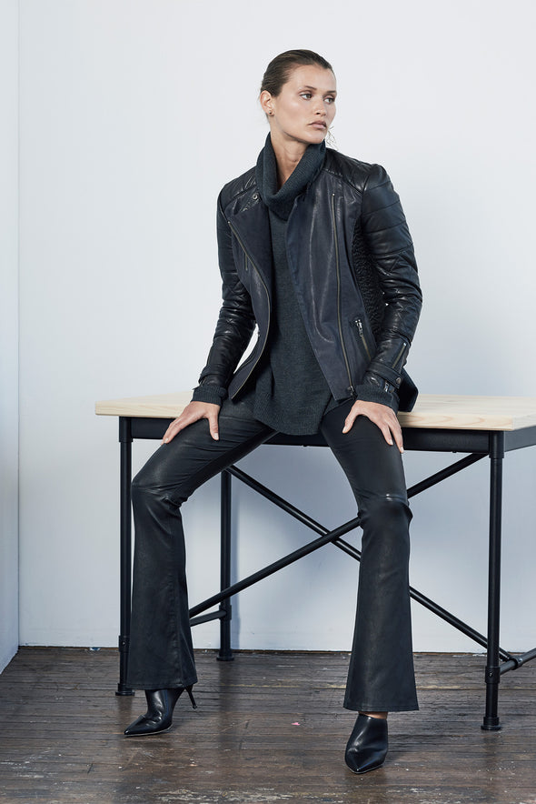 Gramercy Quilted Moto Jacket in Dark Navy & Black Leather