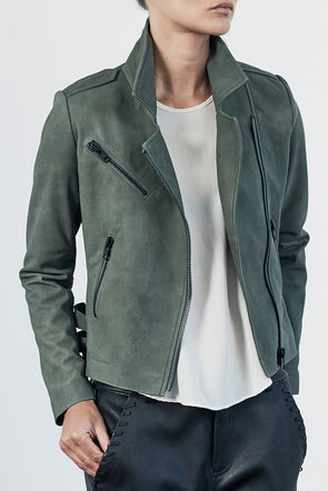 The New Yorker Motor Jacket Army Green Suede Leather