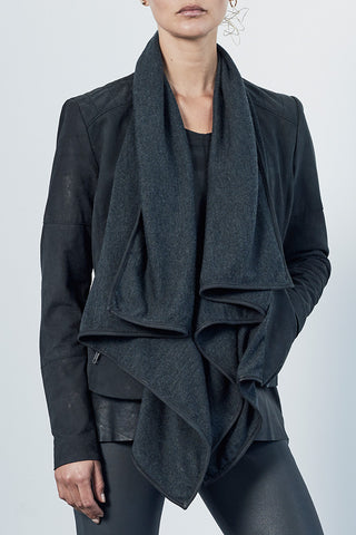 The Woollahra Drape Jacket Charcoal Knit & Black Leather