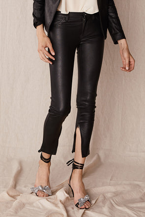 Houston Leggings in Black Stretch Leather