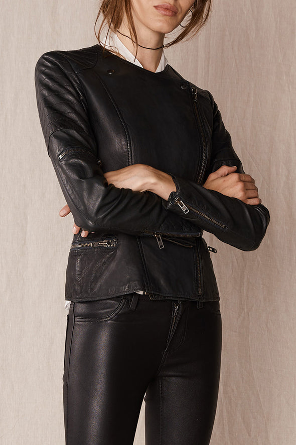 Greenwich Street Motor Jacket Worn In Charcoal Leather