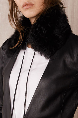 The Jersey Collar in Italian Long Hair Black Shearling