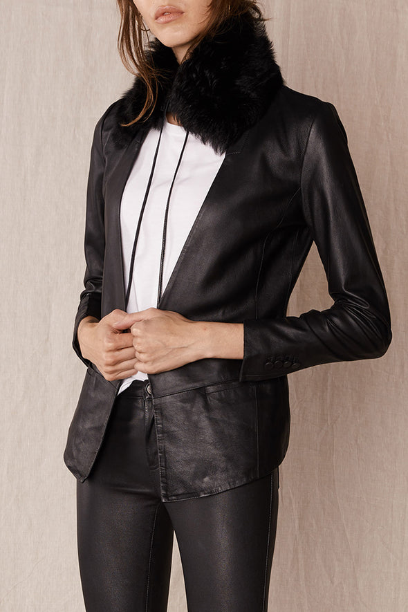 Madison Blazer Black Leather
