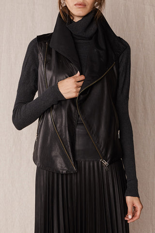 Nolita Drape Vest Black Leather