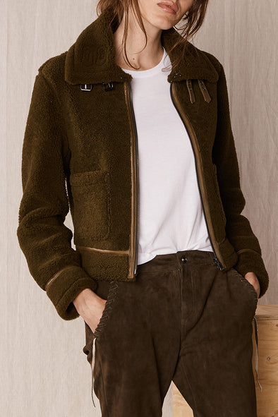 Nomad Reversible Bomber Aloe Green Shearling