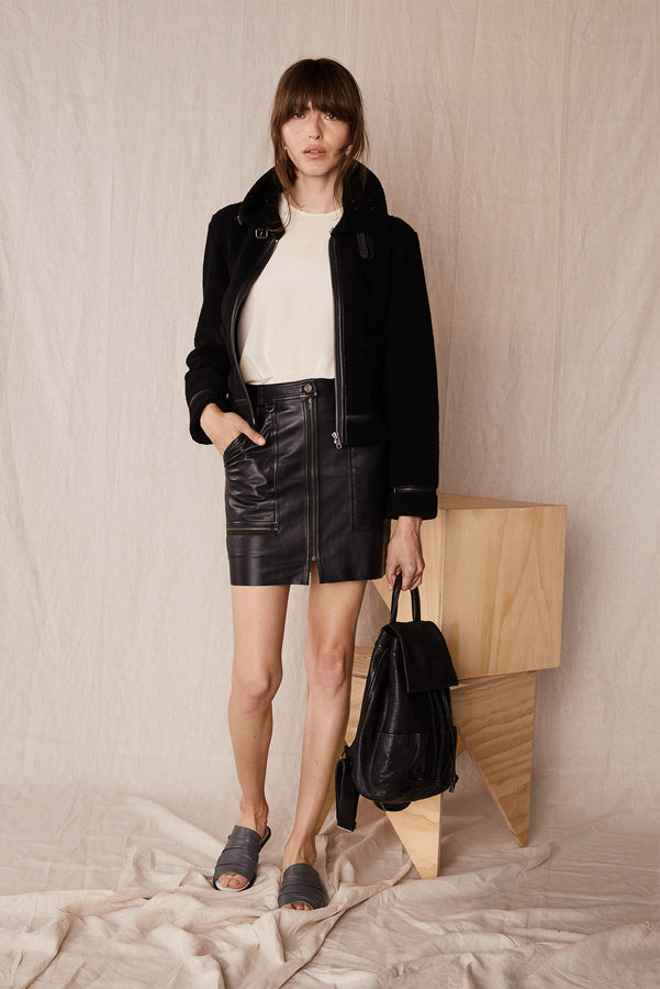 The Hoboken Cargo Skirt Black Leather