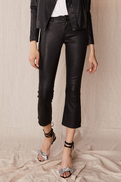 Midtown Kick Flare Pant Black Stretch Leather