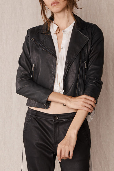 The New Yorker Motor Jacket Worn In Charcoal Leather