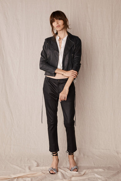 The Bondi Slouch Pant Black Stretch Leather