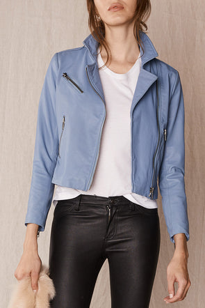 The New Yorker Motor Jacket Steel Blue Leather
