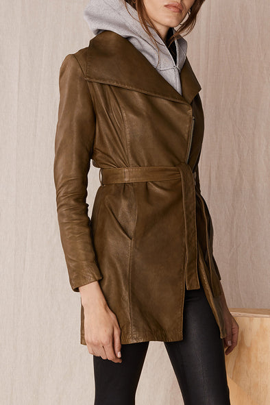 Washington Drape Trench Aloe Green Leather