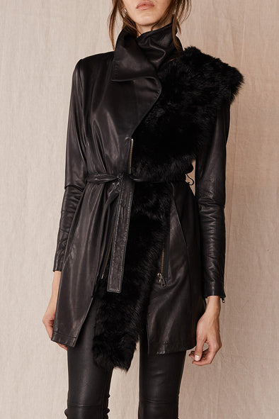 Washington Street Drape Trench Black Leather
