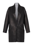 Columbus Shawl Coat Reversible Black Leather