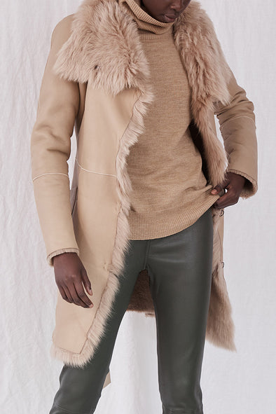 Chelsea Slouch Shearling Coat Biscuit Shearling