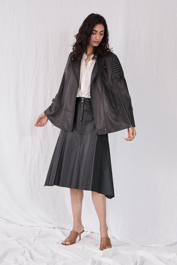 Crosby Cape Black Leather