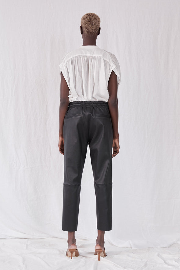 Downtown Track Pant Black Stretch Leather