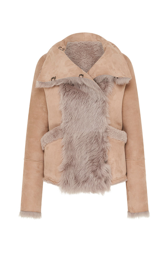 Spring Street Shearling Coat Taupe Shearling