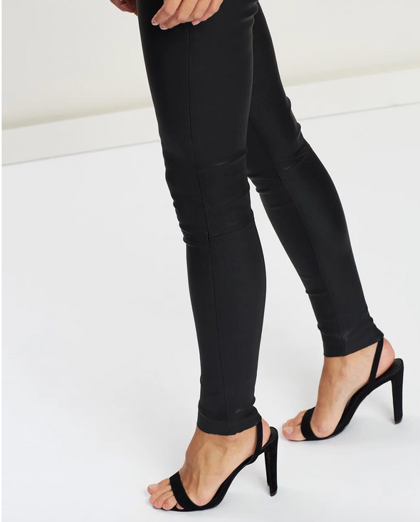 West Broadway Sleek Leather Leggings Black