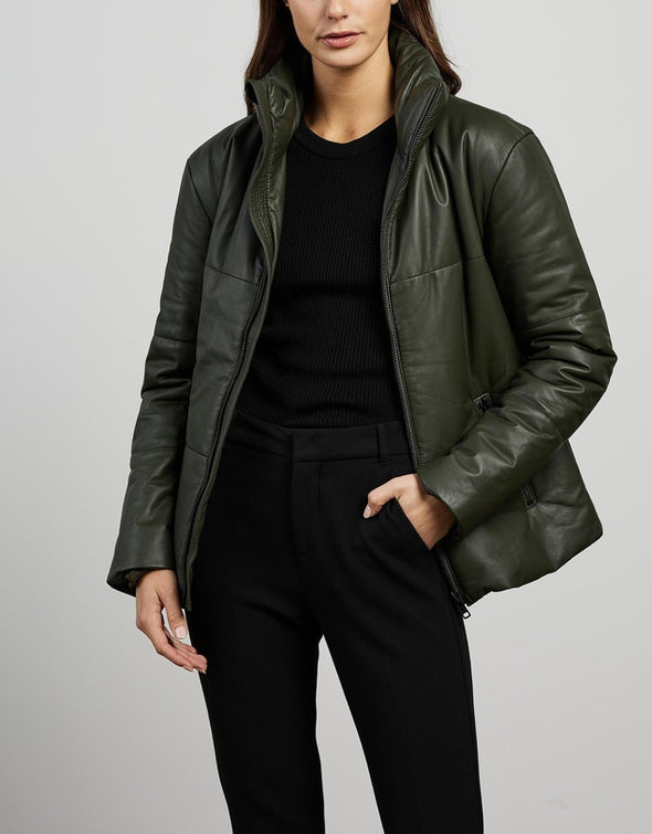 Uptown Puffer Jacket Bottlebush Green Leather
