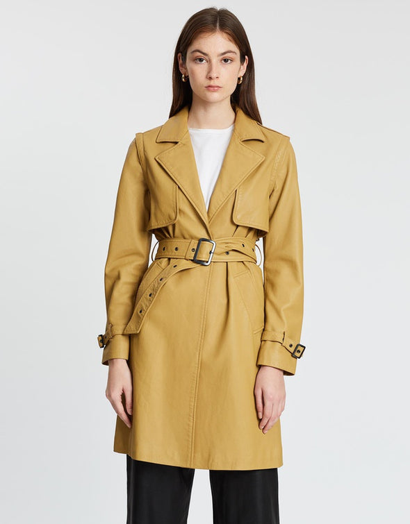 Great Jones Slouch Trench Coat Detachable Sleeves Malto Leather