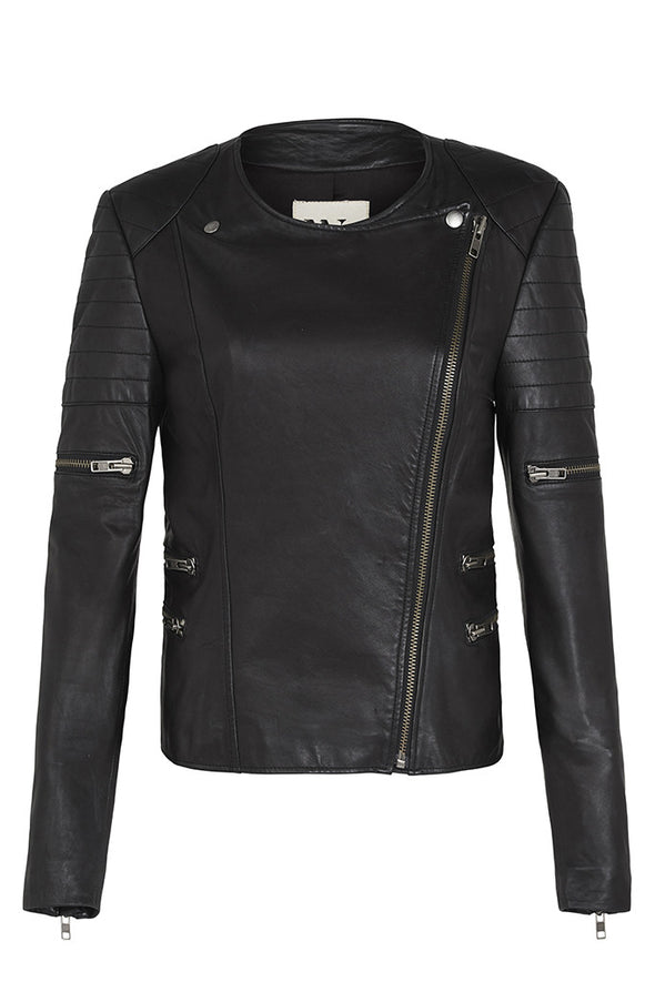 Greenwich Street Motor Jacket Black Leather 'Pashiflora'